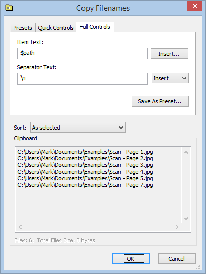 Screenshot showing Copy Filenames Options dialog with Full Controls tab selected