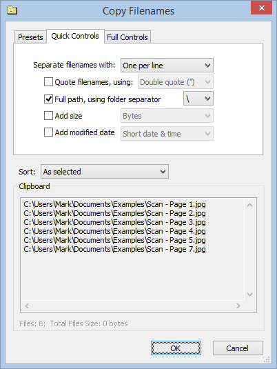 Screenshot showing Copy Filenames Options dialog with Quick Controls tab selected